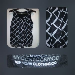 NYC Collection Women's Large Black/White Sheer Top